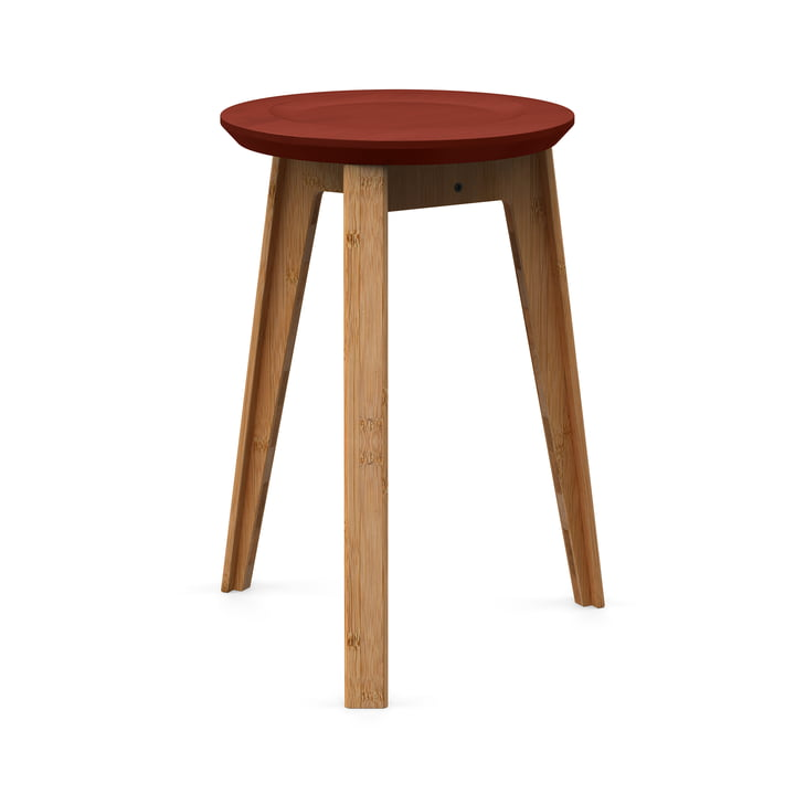 Button Stool von We Do Wood in Rust Red