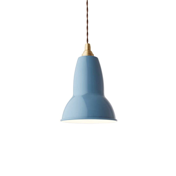 Original 1227 Messing Pendelleuchte von Anglepoise in Dusty Blue