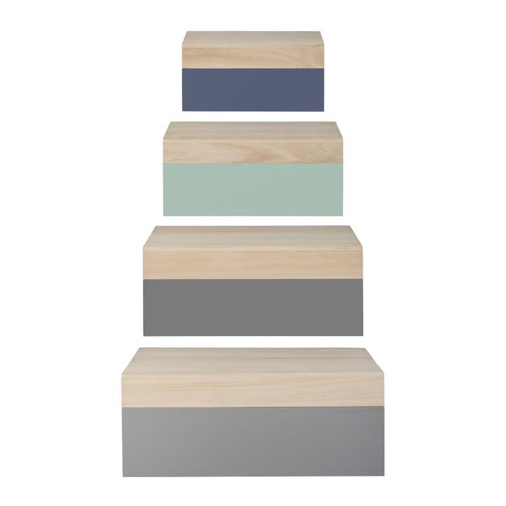 Bloomingville   Storage Box (4er Set), Natur / Pastellfarben