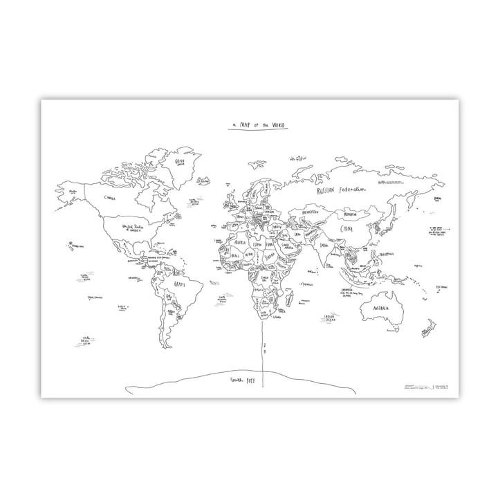 Awesome Maps - Handillustrierte Weltkarte Sketch Map