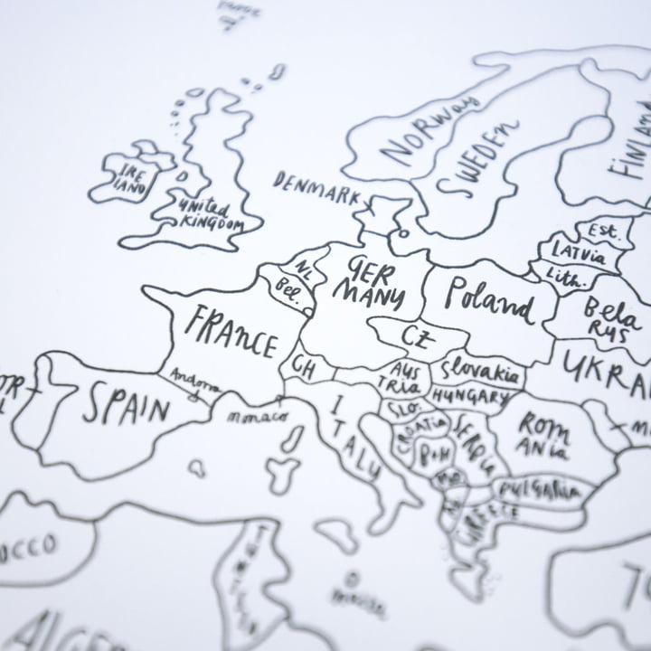 Awesome Maps - Handillustrierte Weltkarte Sketch Map