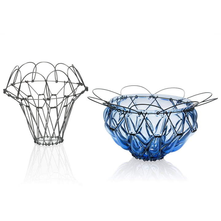 Der Auerberg - Drahtkorb und Glaskorb in blau