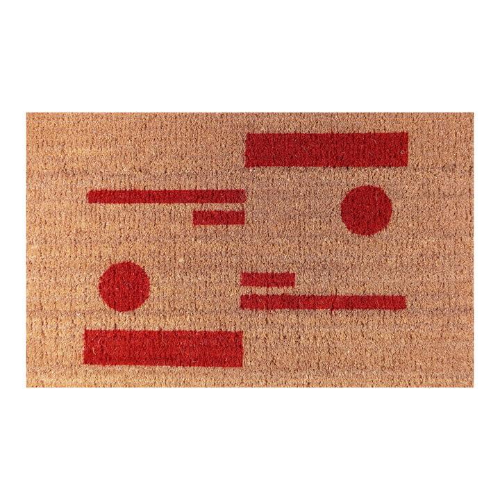 Die Ruckstuhl - Fußmatte mit Kreis- & Strichmuster rot