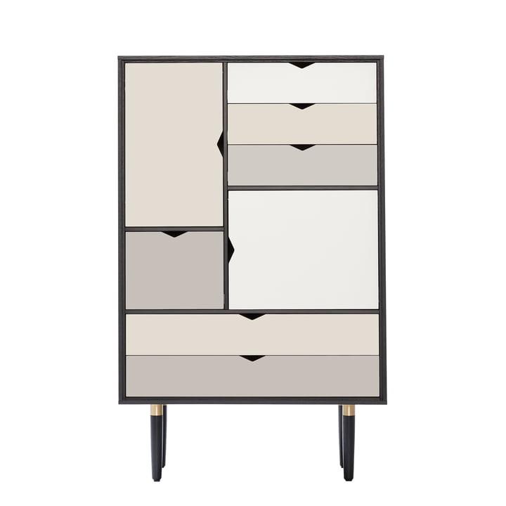 S5 Kommode von Andersen Furniture in Eiche schwarz lackiert (Fronten Silber, Beige, Metallgrau)