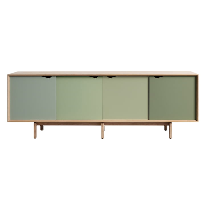 S1 Sideboard von Andersen Furniture in Eiche geseift (Türen Ocean Grey, Doeskin, Pale Olive, Ocean Grey)