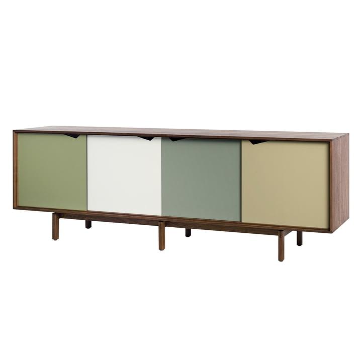 S1 Sideboard von Andersen Furniture in Walnuss geölt (Türen Pale Olive, Alpino, Ocean Grey, Doeskin)