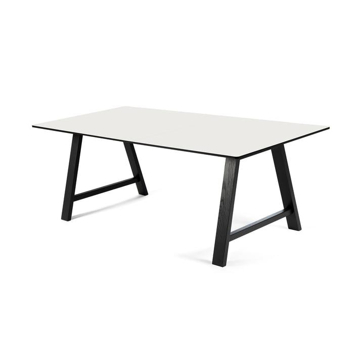 T1 Ausziehtisch 160cm von Andersen Furniture (Gestell Eiche chwarz lackiert, Tischplatte Laminat, weiß)