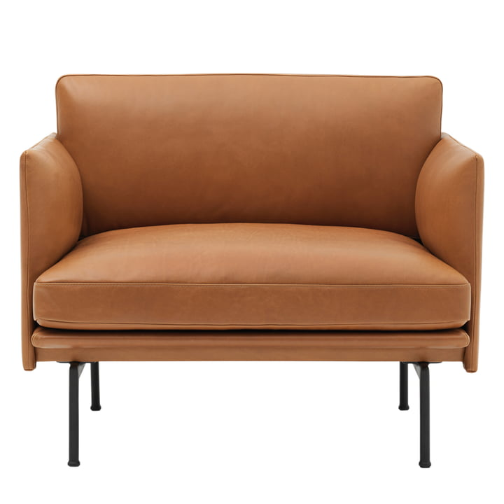 Muuto - Outline Sessel, Cognac silk leather / verkehrsschwarz (RAL 9017)