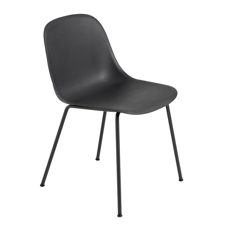 Fiber Side Chair - Tube Base von Muuto in Schwarz / Schwarz