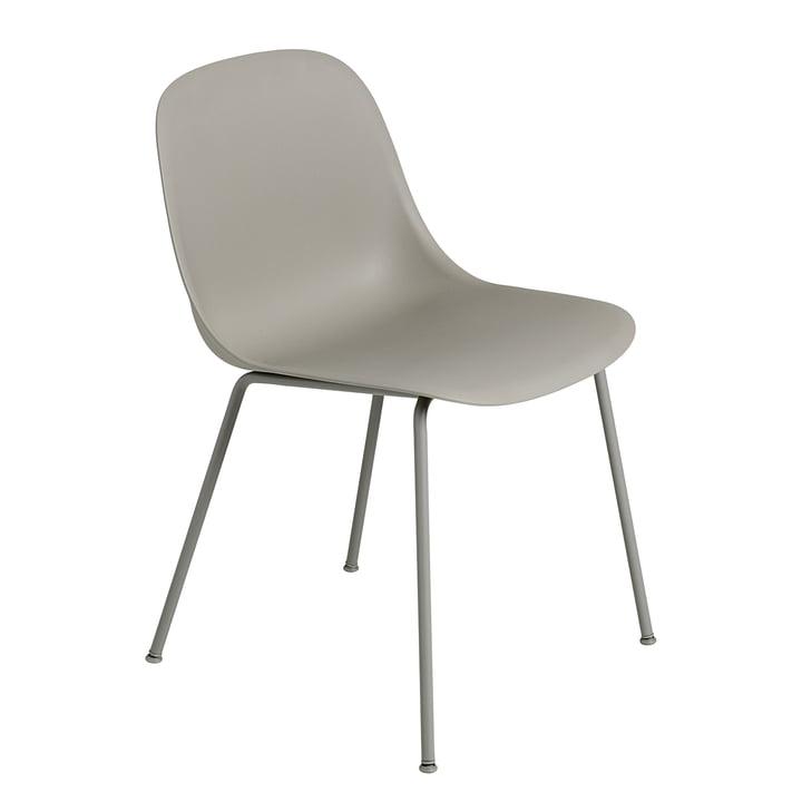 Fiber Side Chair - Tube Base von Muuto in Grau / Grau