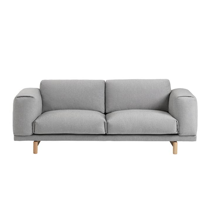 Rest Sofa, 2 Sitzer Grau (Hallingdal 123) / Eiche Natur von Muuto