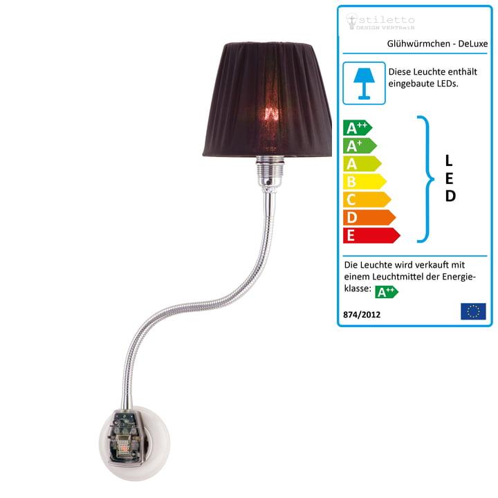 Glühwürmchen DeLuxe mit Textilschirm gerafft von Stiletto in Schwarz (LED)