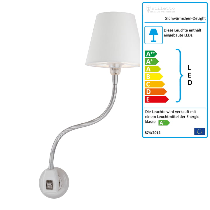Glühwürmchen DeLight mit Textilschirm von Stiletto in Weiß (LED)