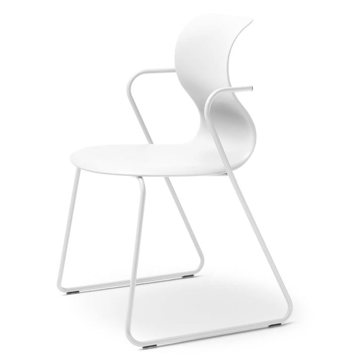 Pro 6 Stuhl mit Armlehnen Gleitkufengestell von Flötotto in Schneeweiß