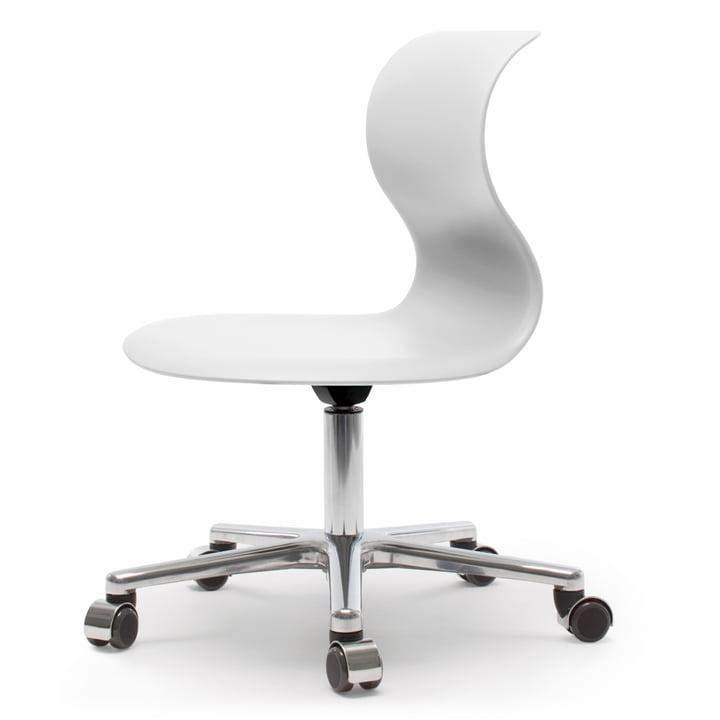 Pro Chair 6 Drehstuhl von Flötotto in Schneeweiß mit Gestell Aluminium poliert, weiche Rollen, ohne Sitzpolster