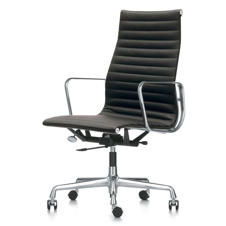 Vitra - Alu-Chair EA 119 Chrom, drehbar, Armlehnen, Leder Premium, schwarz (Rollen für harte Böden)