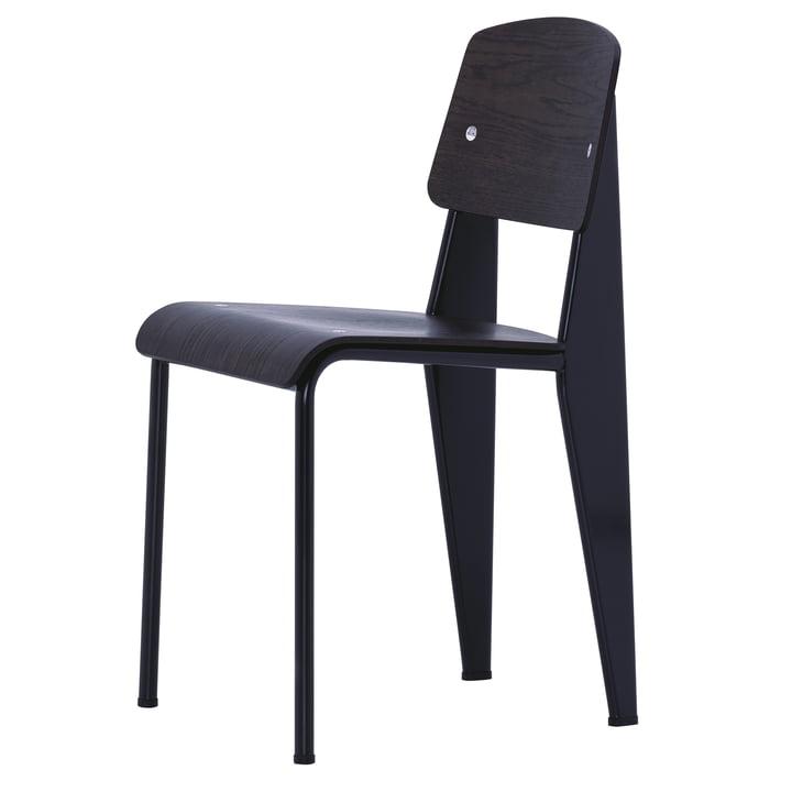 Prouvé Standard Chair von Vitra in Eiche dunkel / Tiefschwarz