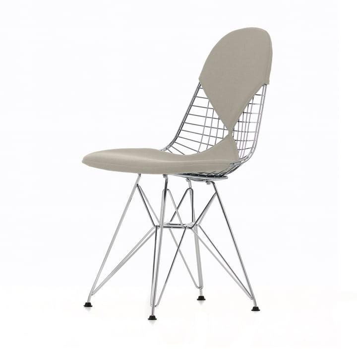 Wire Chair DKR-2 (neue Höhe) von Vitra in Hopsak Warmgrey / Elfenbein / Gestell verchromt