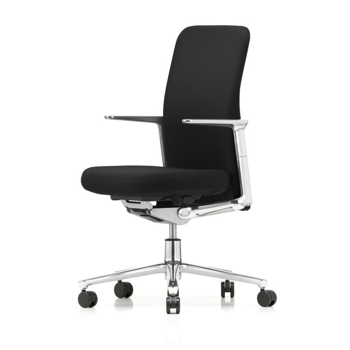 Pacific Chair von Vitra mit Rücken in Schwarz / Sitz F30 Plano Nero