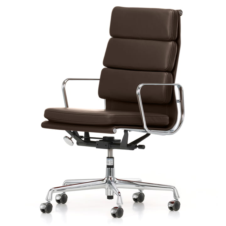 Soft Pad Chair EA 219 von Vitra in Chrom / Chocolate