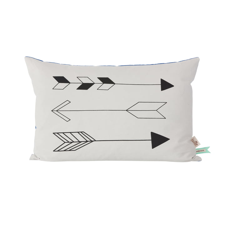 ferm Living - Native Arrow Kissen 60 x 40 cm, weiß / blau