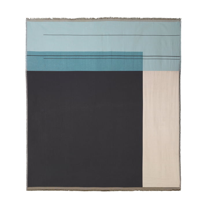 Colour Block Tagesdecke 240 x 250 cm von ferm Living in Dusty Blue