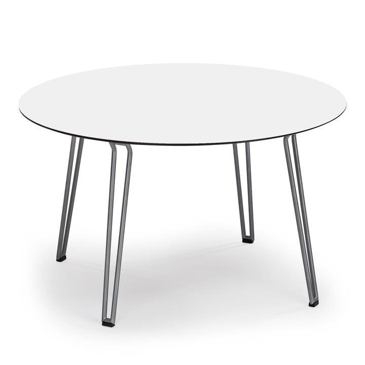 Slope Tisch rund von Weishäupl aus Edelstahl in HPL Weiß
