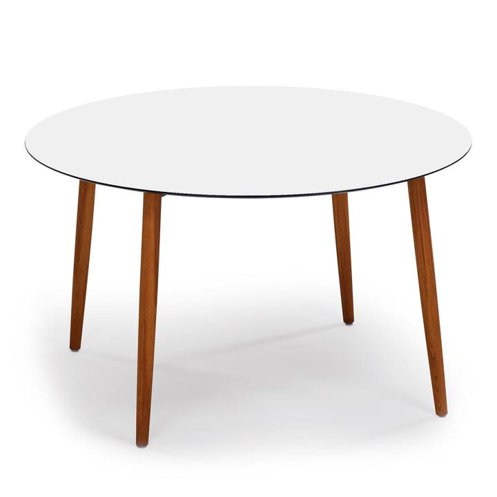 Slope Tisch rund von Weishäupl aus Teakholz in HPL Weiß