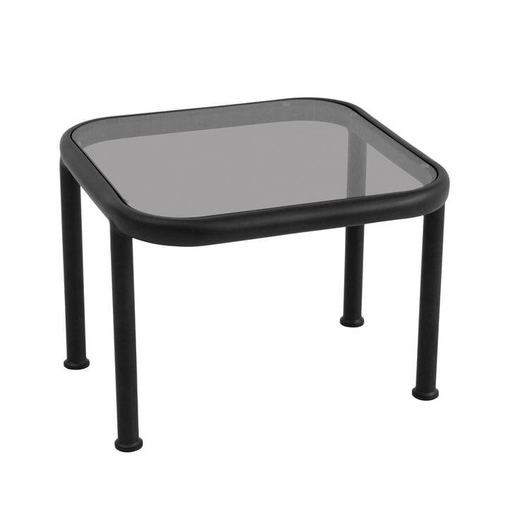 Dock Tisch quadratisch von Emu in Schwarz mit Glas in Rauchgrau