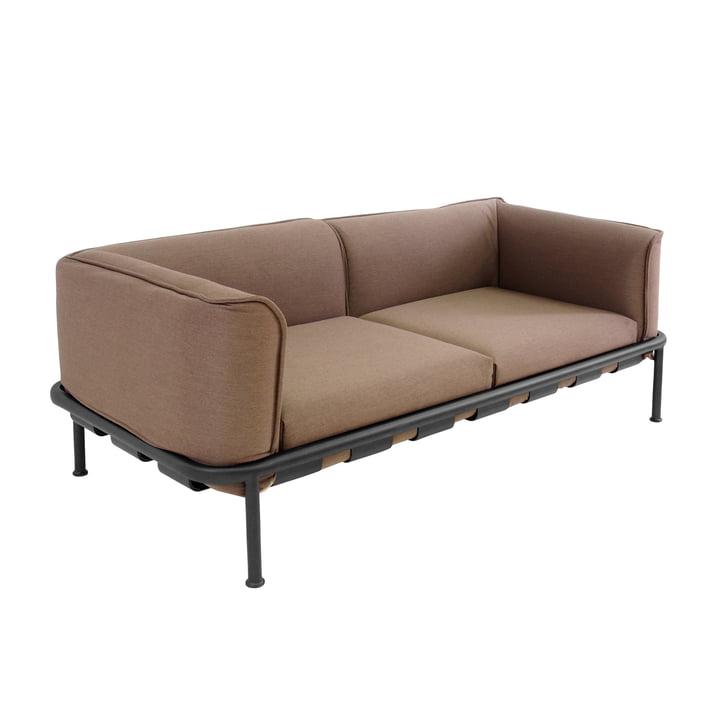 DockSofa 2-Sitzer von Emu in Schwarz mit Kissen in Braun