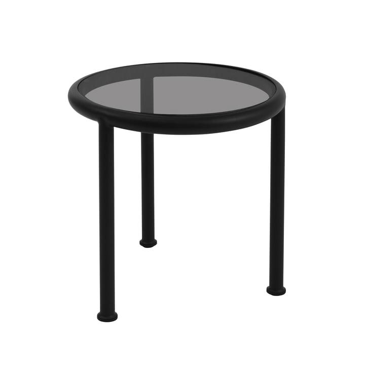 Dock Tisch rund H 50 Ø 48 cm von Emu in schwarz / Glas rauchgrau