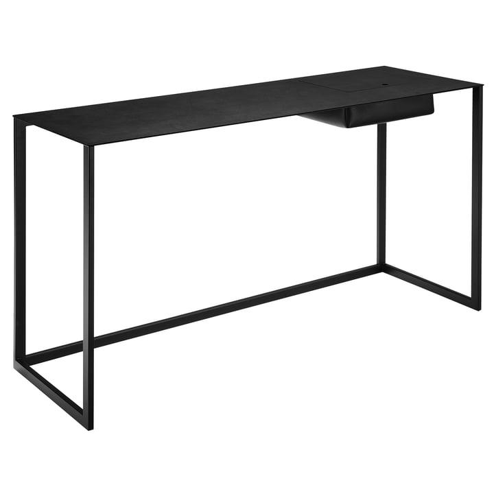 Zanotta - Calamo Schreibtisch, Stahl schwarz / Leder schwarz