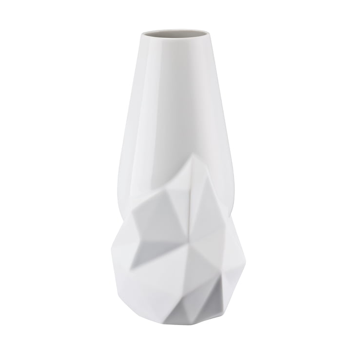 Geode Vase H 27 cm von Rosenthal in Weiß