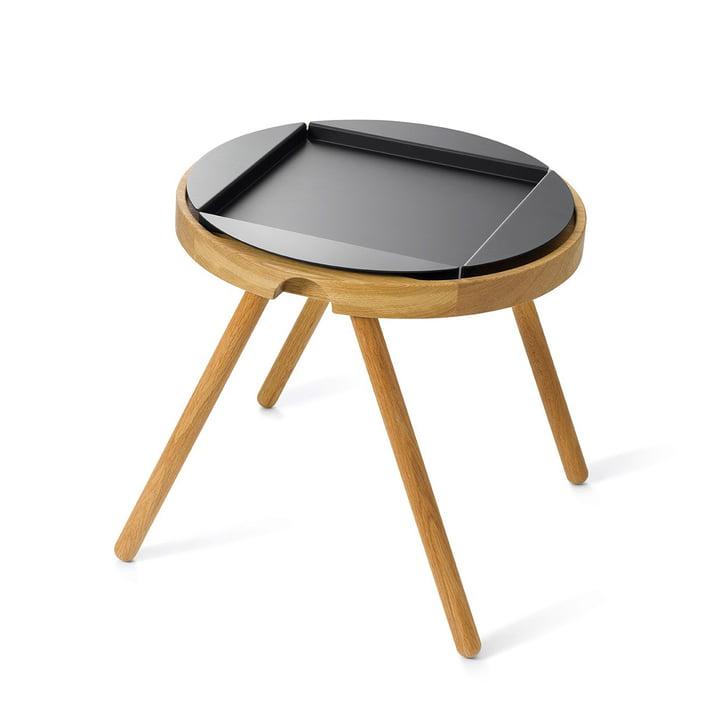Auerberg - Tablett-Tisch klein, Eiche / Alu-Tablett schwarz (Set)