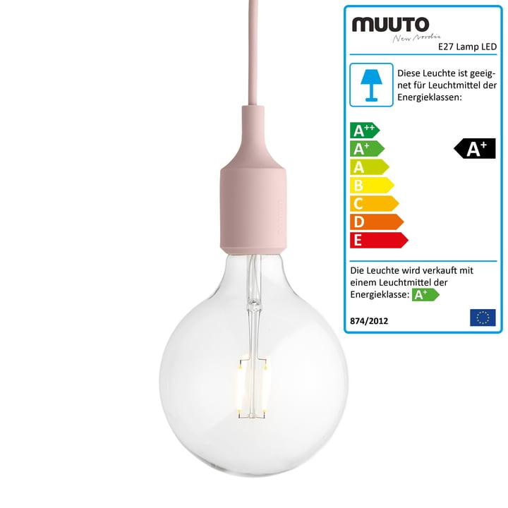 Muuto - Pendelleuchte E27-Socket Pendant Lamp LED, rosa