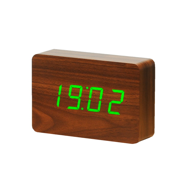 Gingko - Click Clock Brick, walnuss / LED grün