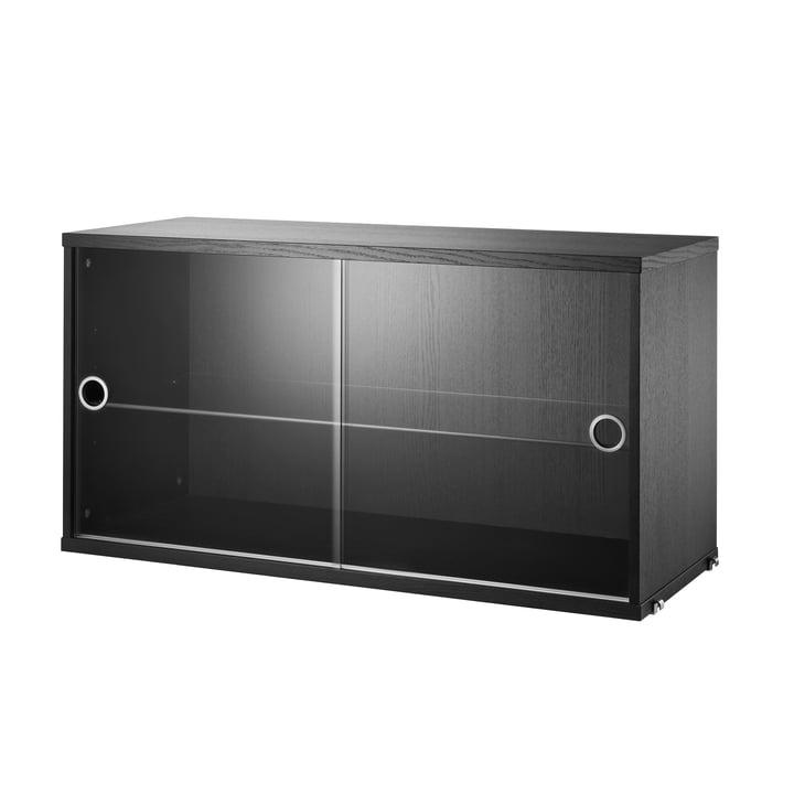 Vitrinenschrank mit Schiebetüren in Glas 78 x 30 cm von String in Esche schwarz gebeizt