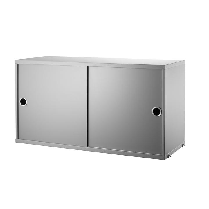 Schrankmodul mit Schiebetüren 78 x 30 cm von String in Grau
