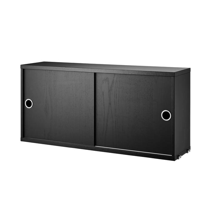 Schrankmodul mit Schiebetüren 78 x 20 cm von String in Esche schwarz gebeizt