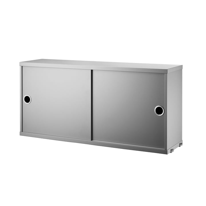 Schrankmodul mit Schiebetüren 78 x 20 cm von String in Grau