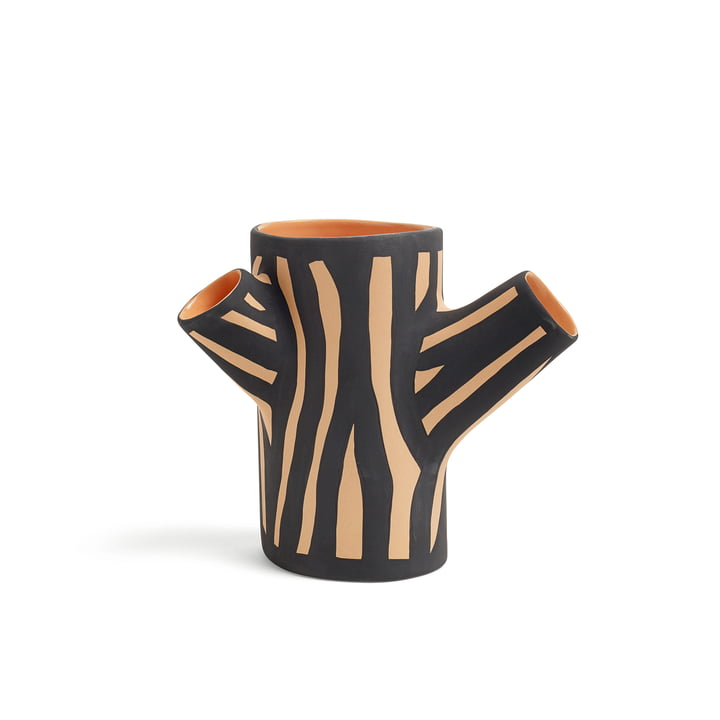 Tree Trunk Vase H 15 klein von Hay in Schwarz/ Orange