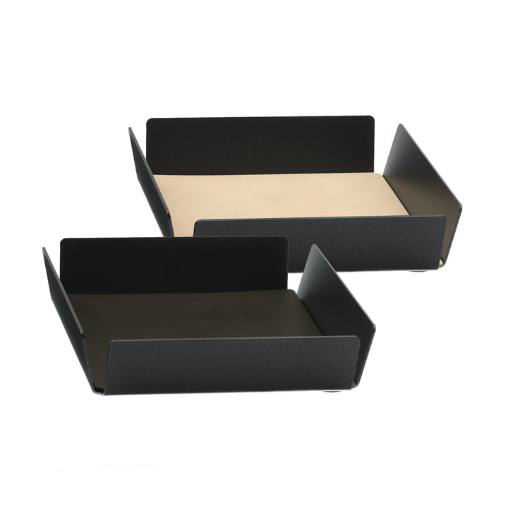 Tray Square Mini von LindDNA in Anthrazit und Double Cloud Braun / Nupo Sand