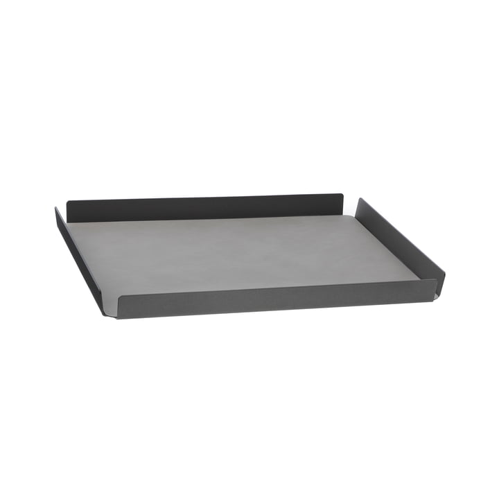 LindDNA - Tray Square M, 28 x 36 cm, Alu anthrazit, Double Nupo anthrazit / Nupo hellgrau (2 mm)