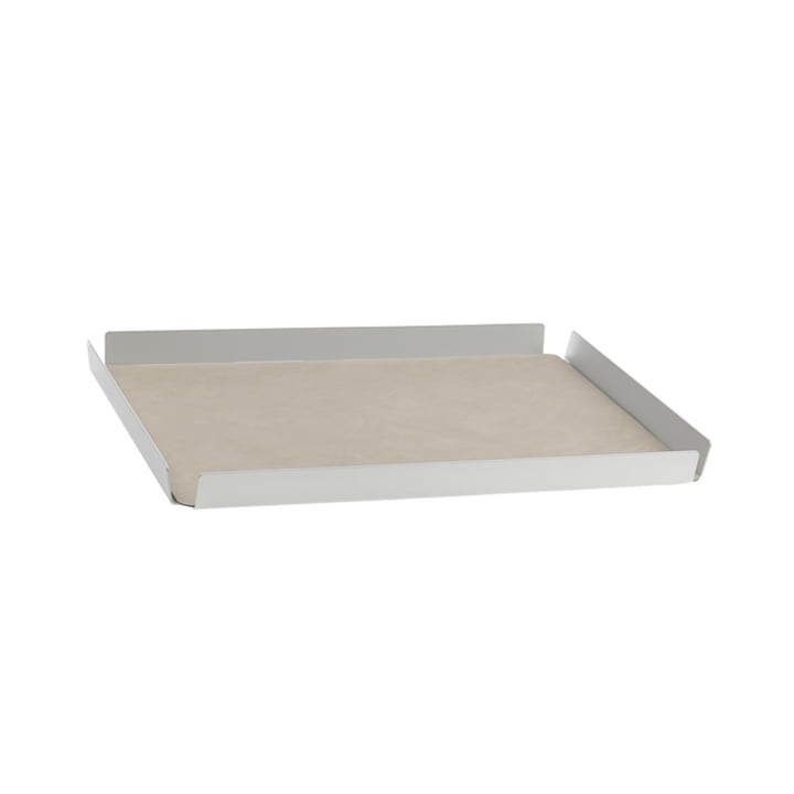 LindDNA - Tray Square M, 28 x 36 cm, Alu metallic, Double Nupo anthrazit / Nupo hellgrau (2 mm)