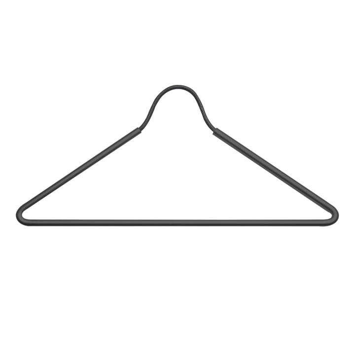 Hanger Kleiderbügel von LindDNA aus Edelstahl Schwarz / Leder Schwarz