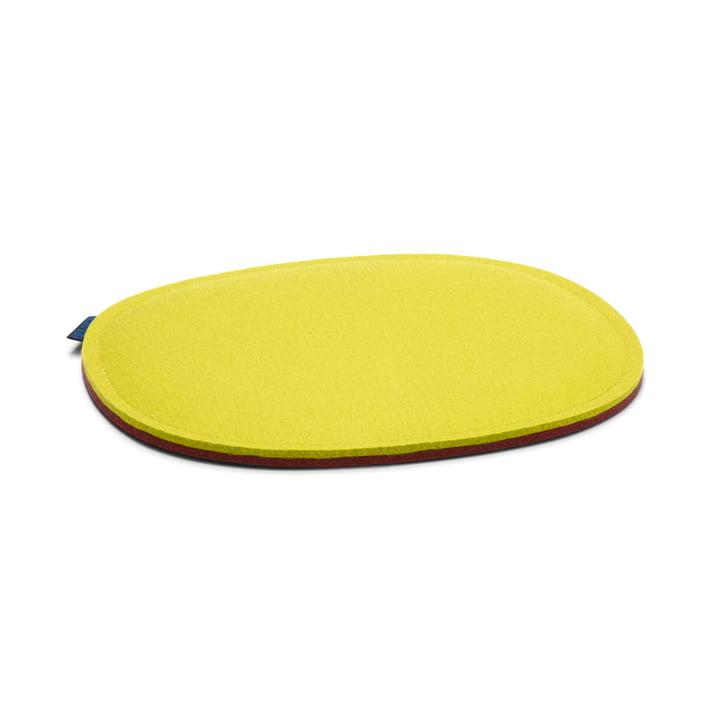 Die Hey Sign - Filz-Auflage Eames Plastic Side Chair, zitrone und walnuss 2 x 5mm vernäht, ohne Antirutsch-Beschichtung
