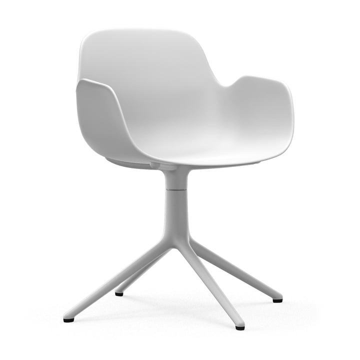 Form Drehsessel von Normann Copenhagen in Aluminium Weiß / Weiß