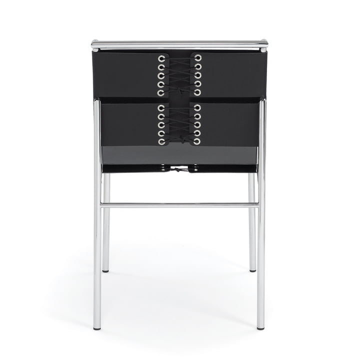 Roquebrune Stuhl von ClassiCon in Chrom / Kernleder Schwarz