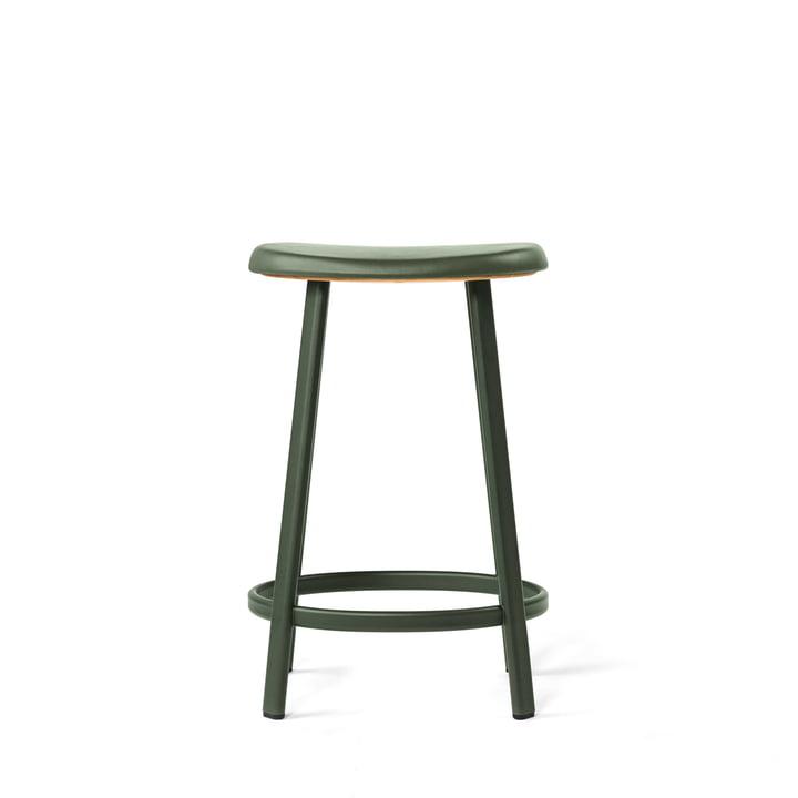 Der Million - Anno Barhocker (H 65 cm) in dunkelgrün / Leder grün