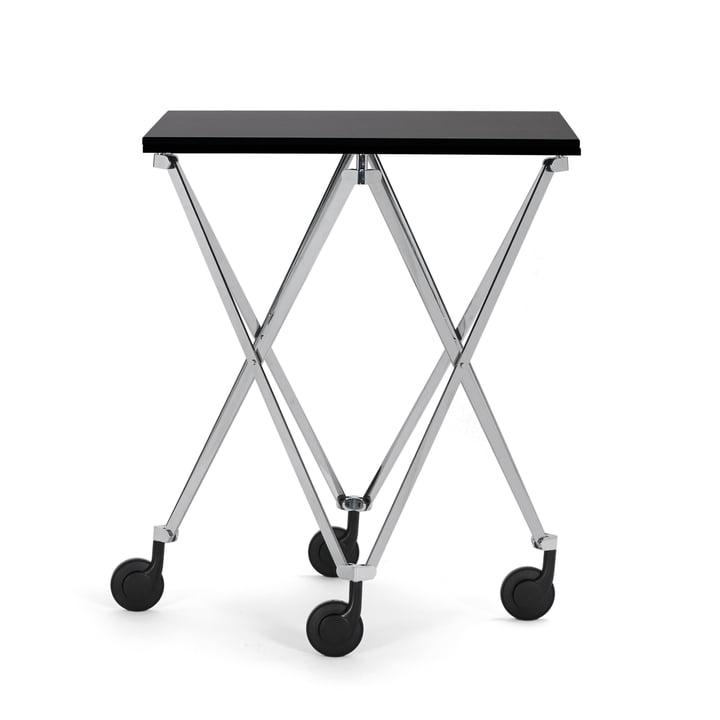 Sax Beistellwagen von ClassiCon mit Gestell in Chrom / Tischplatte Fenix HPL Schwarz